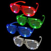 óculos de fluorescência venda por atacado-Persianas LED Brilho óculos de torcida concerto adereços de Halloween dança Fluorescência luminosa óculos Brinquedo Led Presentes de natal