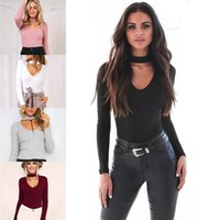 Wholesale Women Bodysuits Fashion - 2016 Autumn New Women's Halter Long Sleeve Sexy Bodysuits Fashion Slim Bodycon Triangle Rompers Women Jumpsuits One-piece Pants