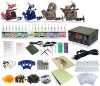 Wholesale Tattoo Equipment Complete Kit - Complete Tattoo Kit 4 Machine Coil Guns Equipment Power Supply 20 Color Inks TK-28
