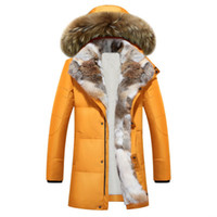 Wholesale Rabbit Men Coat - 2017 winter duck down jacket men coat parkas Wool Liner male Warm Clothes Rabbit fur collar High Quality,PLUS-SIZE M to 5XL