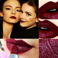 purple lipstick toptan satış-2016 Maquiagem Batom Mat Bant Makyaj Vampir Koyu Kırmızı Ruj Kozmetik Punk Mor Su Geçirmez Mat Ruj labiales mat