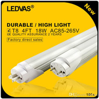 Wholesale Pf Led Light - LEDVAS 100x Free Shipping 18W T8 LED Tube SMD2835 1800LM PF>0.9 Light Lamp Bulb 1200mm 1.2m 4Ft AC85-265V 2 Year Warranty