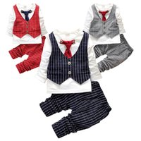 Wholesale Tie Vest Shirt Set - PrettyBaby baby boys christmas outfits clothing sets children tie vest t shirt suit fancy kids gelentment clothes set boys plaid outfit