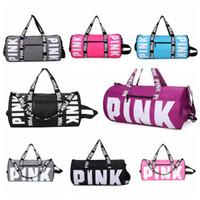 Wholesale casual handbags shoulder bags - 8 Colors Pink Letter Duffel Bags Women Handbags Large Capacity Travel Duffle Striped Waterproof Beach Bag Shoulder Bags CCA7799 20pcs