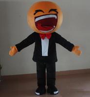 fazer trajes de cabeça de mascote venda por atacado-2017 fábrica fez boca grande cabeça grande rindo rosto emoji trajes da mascote para adulto para usar