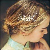 Wholesale Star Tiara Wholesale - Vintage Hair Comb Wedding Headpiece Bridal Crystal Rhinestone Hair Accessories Clips Jewelry Pearl Headband Crown Tiara Jewelry Gold