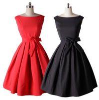 Wholesale dresses belted tunics - Bow Tunic Dresses 1950s 60s Women Vintage Slim Dress With Belt Summer Tunic Audrey Hepburn Style Rockabilly Swing Dresses OOA3237