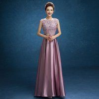 Wholesale Mother Pearl Flower Buttons - Long Satin Lace Evening dress 2017 Mother of the Bride Dresses Crystal Sashes vestido de festa Formal Party Gowns