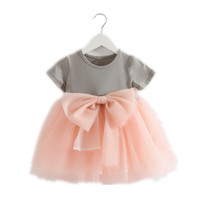 Wholesale Knee Length Glitter Dresses - 2016 New Girl Dress Big Bow Glitter Gauze Fairy Dress Children Clothing 0-4T E880