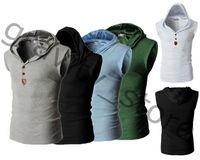 Wholesale Wholesale Hood T Shirts - Wholesale- Summer Men Sleeveless Hoodie Tank Top T-Shirt Slim Fit Vest Hood Sweatshirt