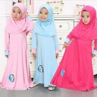 Wholesale Girl Muslim Scarf Hijab - Girls Elsa Anna Dress 2016 New Style Kids Abaya Dress Girl Muslim Lslamic Nation Prayer Clothes Dress + Scarf 2PCS Set Kids Burqa With Hijab