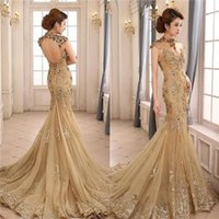 Wholesale Plus Size Evening Dresses Dubai - Dubai High Neck Open Back Mermaid Evening Dresses 2016 Champagne Beaded Lace Appliques Sparkly Plus Size Formal Party Prom Gowns