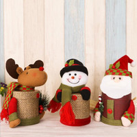 Santa Claus Snow Man / Elk Plush Doll Cadeaux Box Christmas Ornaments Kids Candy Gifts Holder Stockage Joyeux Décoration de Noël F20171838