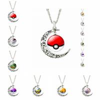 Wholesale Moon Necklace Colors - 7 Colors Vintage Moon Necklace PokéMon Go Logo Gemstone Necklaces Pendants Chain Jewelry Children Accessories Bjd Nerf