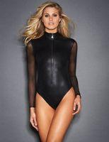 Wholesale Sexy Mesh Leotards - Black PU Leather Bandage Bodysuit Sheer Mesh Long Sleeves Short Jumpsuit Sexy Turtleneck Lingerie Leotard Fetish Women Catsuit