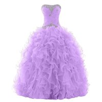 Wholesale Classic Lilac Purple Quinceanera Gowns Crystals Beaded Neckline Strapless Top Ruffles Skirt Prom Party Gowns Custom Made Floor Length