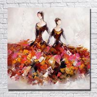 figura ballet óleo venda por atacado-Sexy vestir figura dos desenhos animados pinturas a óleo do balé dancer pintados à mão pequena figura sexy girl pintura de vendas para compras online