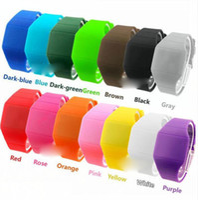 Wholesale Thin Band Digital Watch - Wholesale 500pcs lot Mix 14colors touch led watch Rubber bands digital rubber men women ultra-thin fashion sport watches LT004
