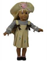 Wholesale Dress Girls Styling - New style 18 inch American girl doll clothes doll dress of embroidered beige and blue dress with hat