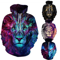 Wholesale Wolf Print Hoodies - Fashion hoodies for men Galaxy sweatshirt designer hoodie tracksuit men hoodie Animal 3D Print Wolf Hooded Pullovers Thin Autumn Winter Coat