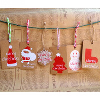 Wholesale Red Wedding Tags - 50PCs Merry Christmas Gift Cards Snowman snowflake Hat Pattern Kraft Paper Marker Tags Wedding Party Favor Gift Tags Cards