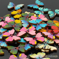 Wholesale Butterfly Sew - 50pcs 2 Holes Mixed Butterfly Shape Wooden Sewing Scrapbooking DIY Buttons G00123 BARD