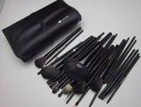 Wholesale Wholesale Leather Handles - MC Brand 32pcs makeup brushes sets professional cosmetic make up brush with fiber hair + black wood handle + leather case