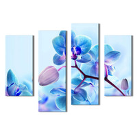 Wholesale orchid flower oil painting - Amosi Art-4 Pieces Moth Orchid Flower Canvas Art Modern Print Oil Painting on Canvas Wall Art Deco For Home Decoration with Wooden Framed
