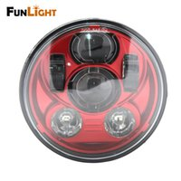 Funlight 5.75inch New Red Motorcycle Acessórios Led Headlight High / Low Beam para Harley Projector de motocicleta Daymaker Headlamp