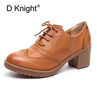 Vintage Women Oxfords British Square High Heels Casual Chaussures Lace-Up Femme Brogue Femme Chaussures Handmade Oxford pour Femmes Pompes
