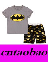 Wholesale Cotton Pjs Wholesale - 2016 new baby light grey batman cartoon short sleeve pajamas set girls boys sleepwear 2pcs pjs suit baby's clothing set kid pjs nightwear