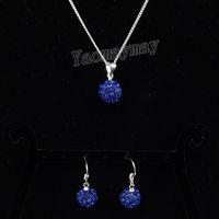 königliche blaue rhinestoneohrringe großhandel-Royal Blue Disco Ball Anhänger Ohrringe und Halskette Für Mädchen Strass Schmuck Set 10 Sätze Freies Verschiffen