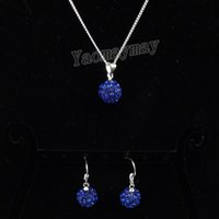 Wholesale Crystal Shamballa Necklace Earrings - Royal Blue Disco Ball Pendant Earrings And Necklace For Girls Rhinestone Shamballa Jewellery Set 10 Sets Wholesale