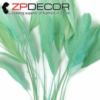 Wholesale Wholesale Coque Tail Feathers - ZPDECOR 15-20cm(6-8 inch) Beautiful Mint Green Dyed Stripped Coque Rooster Tail Feathers for Hair Extensions