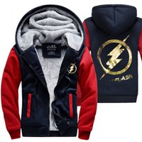 Wholesale flash sweatshirt - Wholesale-New Winter Jackets and Coats The Flash hoodie Anime Justice League Hooded Thick Zipper Men cardigan Sweatshirts Hot Sale