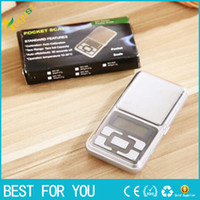 mini dijital ekran toptan satış-Mini Elektronik Dijital Ölçeği Takı Tartı Denge Cep Gram Perakende Kutusu Ile LCD Ekran Ölçeği 500g / 0.1g 200g / 0.01g