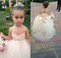 Wholesale champagne flower girls dresses for sale - Group buy Cute Pageant Dresses for Girls Spaghetti Straps Tulle Puffy Flower Girls Dresses for Weddings with Bow Champagne Ivory White Pink Ball Gowns