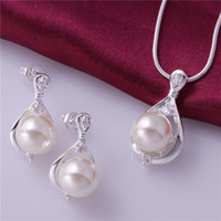 Wholesale Necklaces Pieces Sale - High grade 925 sterling silver Piece pearl insets jewelry sets DFMSS735 brand new Factory direct sale wedding 925 silver necklace earring