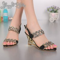 Wholesale Strappy Sandals Rhinestones - Ladies Crystal Sandal High Quality Summer Shoes Cut Out Wedge Heels Women Sandal 8cm Shoes Ladies Open Toe Rhinestone Strappy Heels