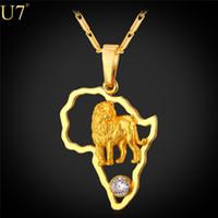 león africano al por mayor-Nuevo Collar de León de Oro para Hombres de Cristal Hueco de Platino / 18 K Chapado en Oro Joyería Africana Mujeres Mapa Africano Collares P783