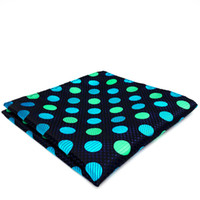 Wholesale Mens Hankies - YH18 black Dark Turquoise Polka Dot Mens Hanky Silk Jacquard Woven Classic Fashion Handkerchief