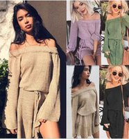 Wholesale kimono sweater dress - 2017 thickening loose sweater dress a word shoulder sexy fashion belt bottoming Solid color dress High waist mini skirt casual women clothes