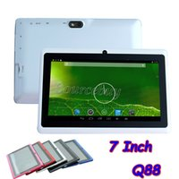 Barato 7 pulgadas Q88 ATM7031 Quad Core Tablet PC 512MB 4GB Android 4.4 1024 * 600 HD capacitiva de la pantalla WIFI Bluetooth linterna de doble cámara