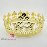 Wholesale full metal cosplay - Majestic Queen King Full Gold Crown Men And Women Royal Prince Headwear Cosplay Metal Party Show Prom Hair Accessories MO076