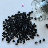 Wholesale tips for black hair - Black Color Flat end copper micro tubes micro rings without flared for I tip hair bag mm x mm x mm