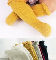 genoux bas filles achat en gros de-Enfants chaussettes bébé filles à volants chaussettes à tricoter tous les enfants correspondent à des bas de genou enfants de la mode genou haute coton enfants Stocking 5 couleurs A8411