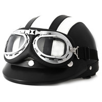 Wholesale Hot Goggles Motorcycle Helmet - Hot Sell Retro Style Motorcycle Helmet 54 - 60CM with Goggles Sun Shield Necklet Light and Durable Protecting Head