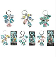 Wholesale Hatsune Miku Keychain - Hot!10Set Mixed Classic Cartoon Hatsune Miku Figure pendants doll color metal keychain Japanese anime key ring Free shipping