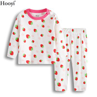 Wholesale girls sleepwear hot - Hooyi Strawberry Baby Sleepwear For Girls Pajamas Cotton Spring Newborn Sleep Sets Children Long Sleeve Tee Shirts Pants Soft Hot Sale