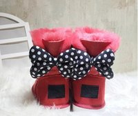 Wholesale baby girl women boots for sale - Group buy CLASSIC DESIGN SHORT BABY BOY GIRL WOMEN KIDS BOW TIE SNOW BOOTS FUR INTEGRATED KEEP WARM BOOTS EUR SZIE